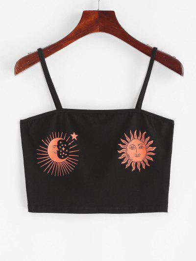 ZAFUL Sun and Moon Print Crop Cami Top