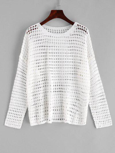 Drop Shoulder Crochet Openwork Cover Up Top