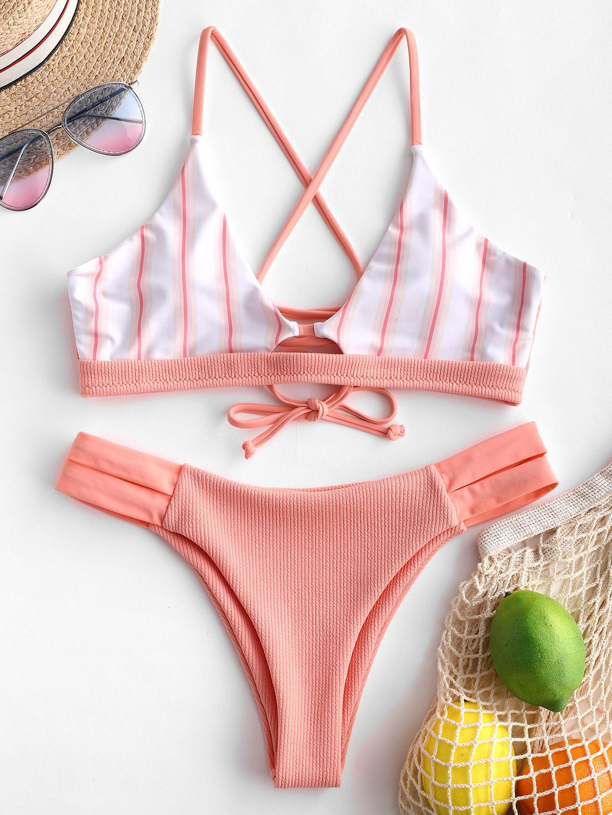 ZAFUL Striped Panel Crisscross Ribbed Bikini Swimsuit thumbnail