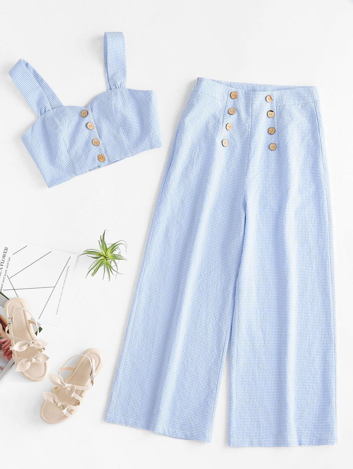 ZAFUL Buttoned Gingham Crop Top and Wide Leg Pants Set, Light blue