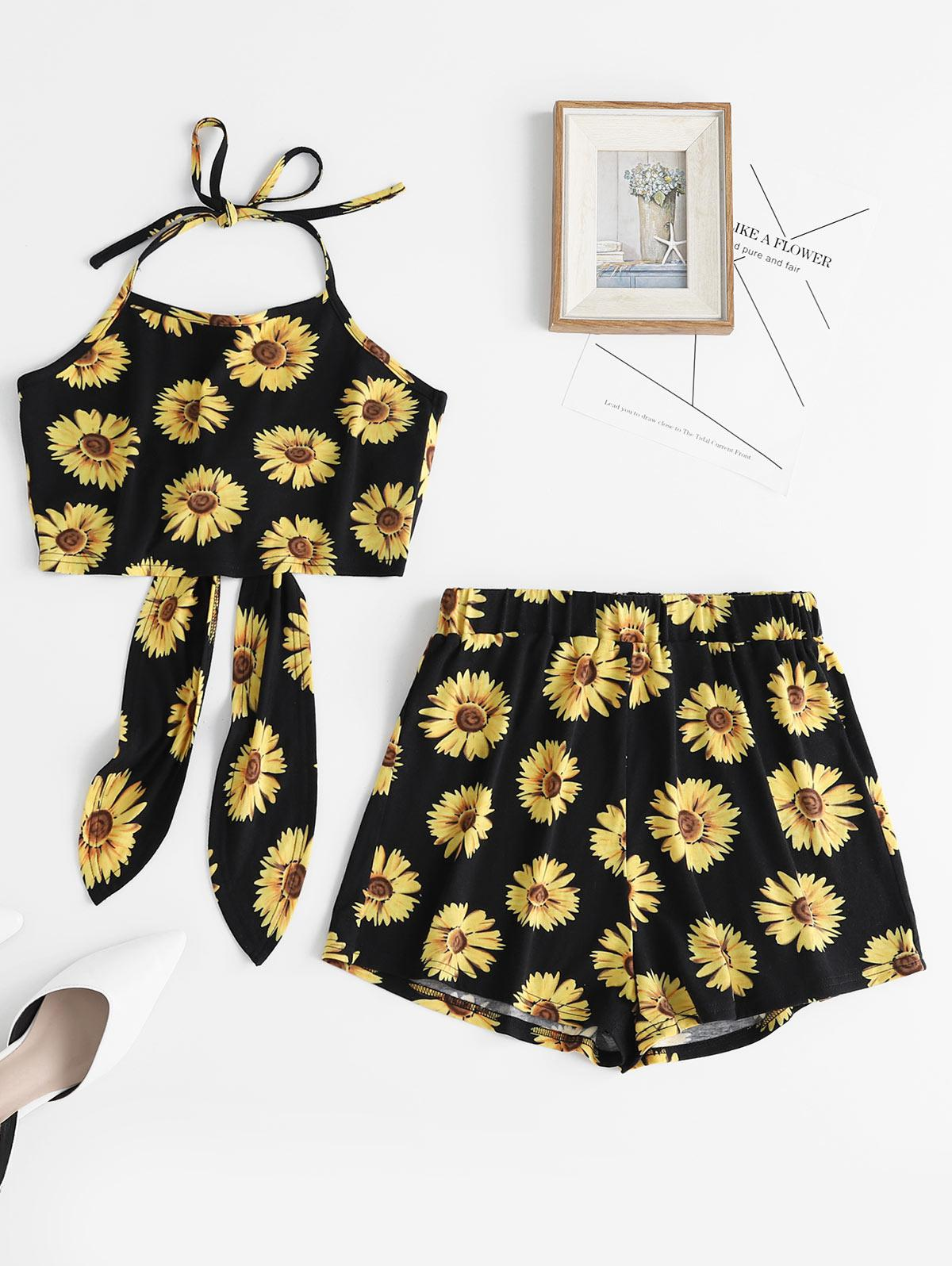 ZAFUL Flower Print Halter Crop Top and Shorts Set, Black
