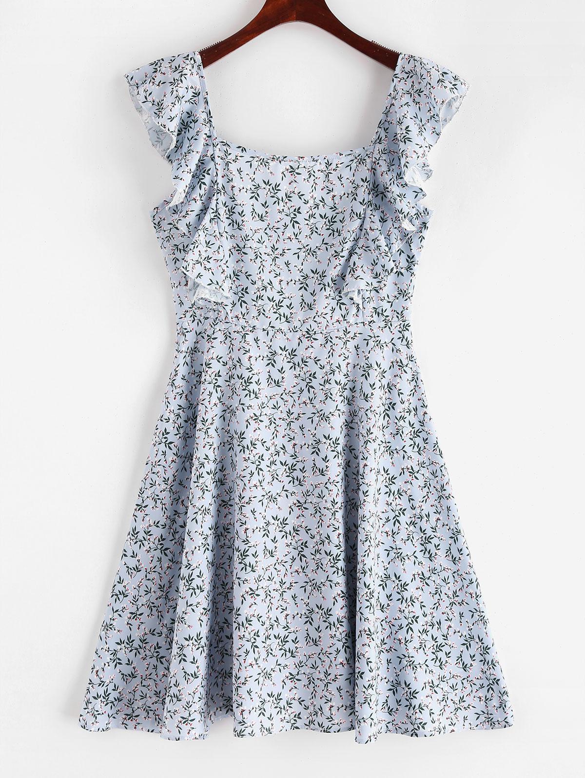 Square Floral Ruffles Mini Dress, Multi
