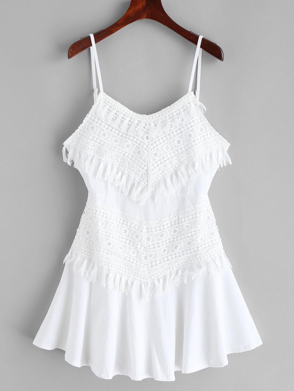 Crochet Panel Tassels A Line Cami Dress, White