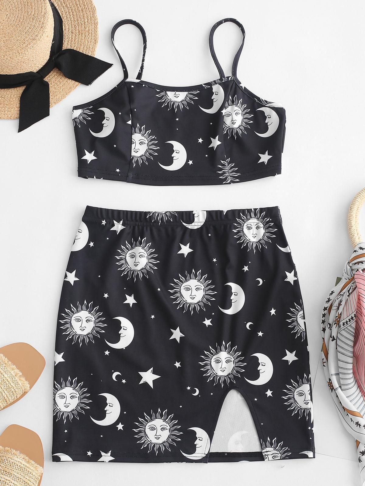 ZAFUL Cami Star Sun And Moon Top And Slit Skirt Set, Black