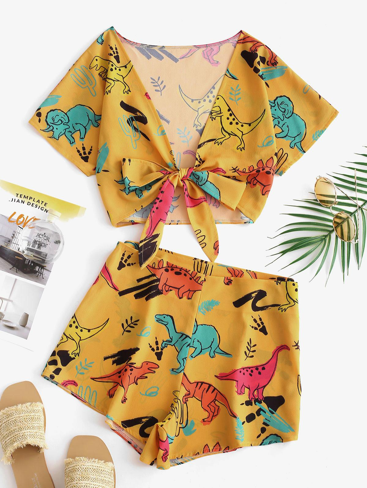 Tie Front Dinosaur Cropped Top And Shorts thumbnail