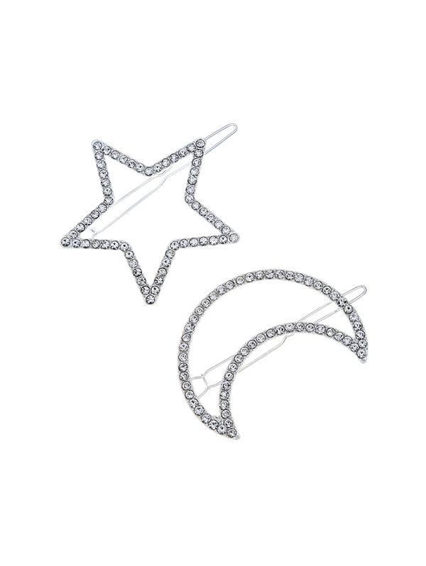 2Pcs Hollow Star Moon Hairgrip Set
