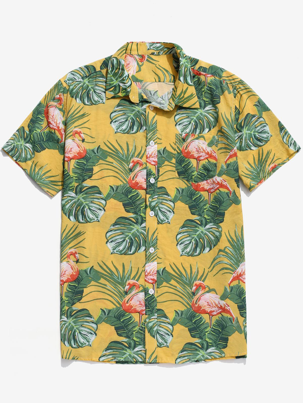 Tropical Leaf Flamingo Print Beach Hawaii Shirt, Multi