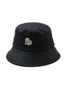 مطرزة الرول الزلاجات نمط قبعة دلو - أسود