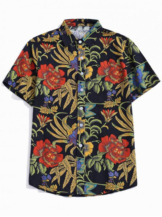 hot Flower Plant Print Button Shirt - MULTI-H L