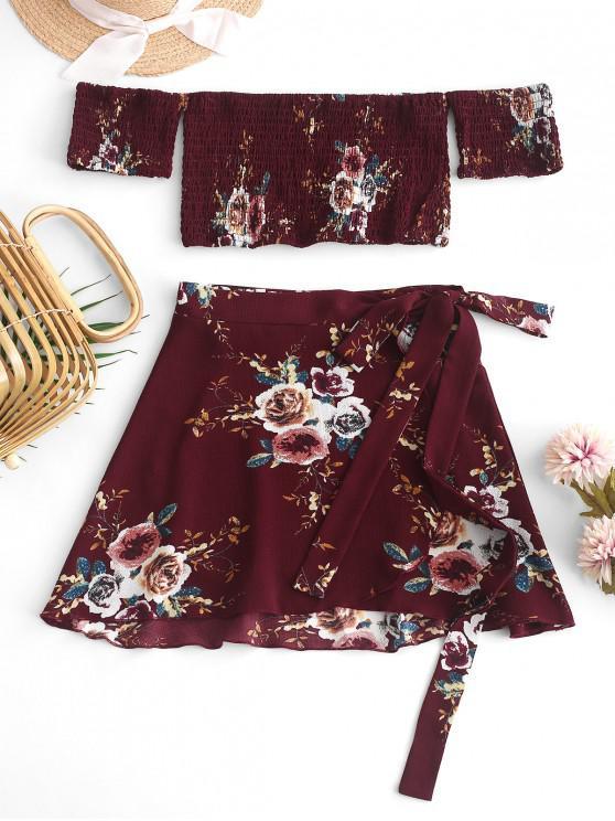 best Floral Smocked Off Shoulder Wrap Skirt Set - RED S