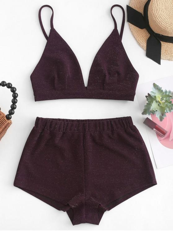 online ZAFUL Bralette Shiny Cami Top And Shorts Set - RED WINE L