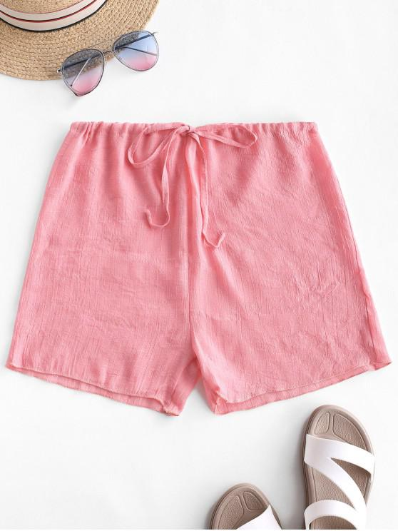 affordable Drawstring Semi-sheer Beach Cover Up Shorts - LIGHT PINK ONE SIZE