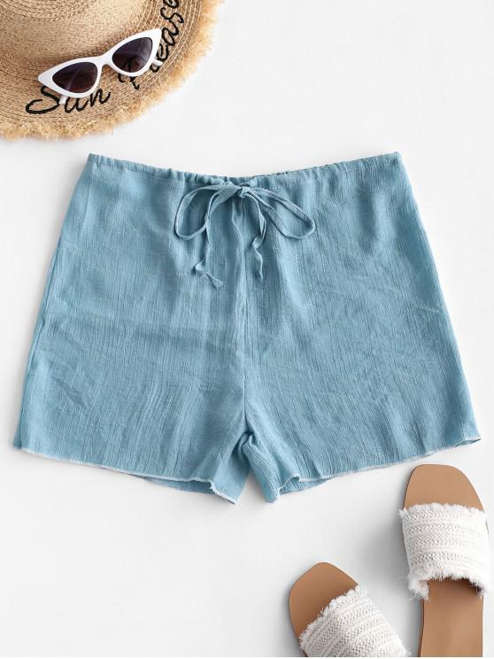 fancy Drawstring Semi-sheer Beach Cover Up Shorts - JEANS BLUE ONE SIZE