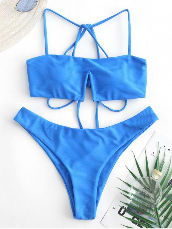 womens ZAFUL Strappy V-wired Ribbed Bikini Swimsuit - BLUEBERRY BLUE L