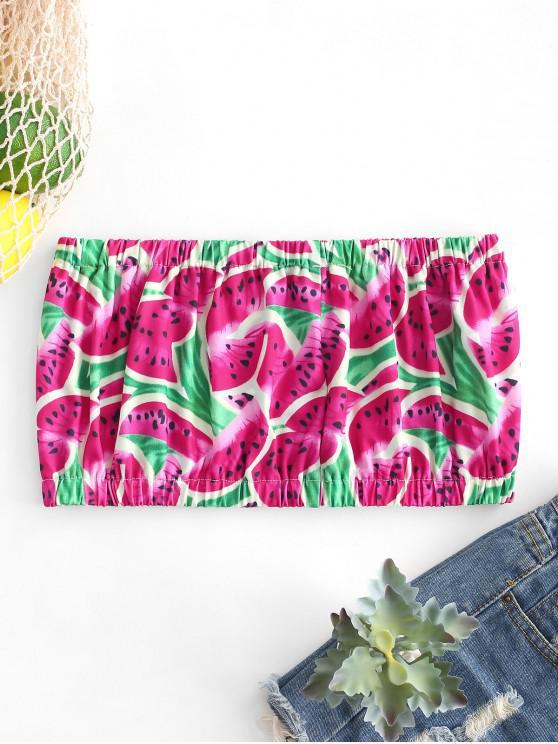 new ZAFUL Cute Watermelon Print Bandeau Top - MULTI S