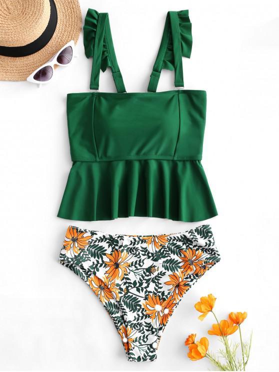 affordable ZAFUL Floral Leaf Lace Up Peplum Tankini Swimwear - MULTI-A L