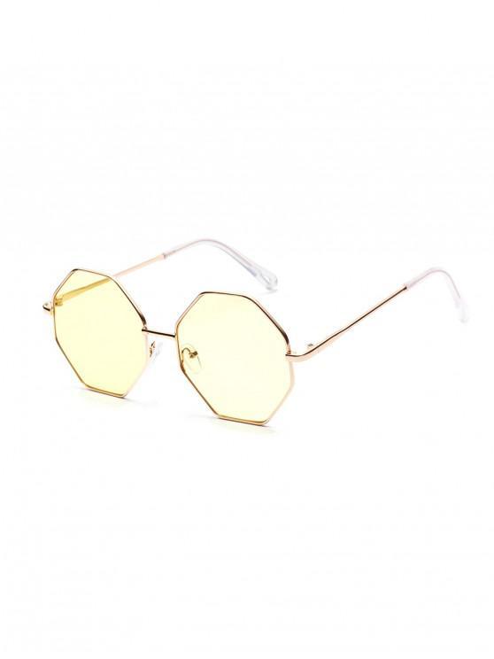 women Brief Irregular Metal Sunglasses - TAN