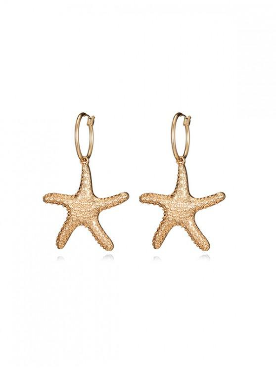 ladies Alloy Starfish Shell Faux Pearl Drop Earrings - GOLD