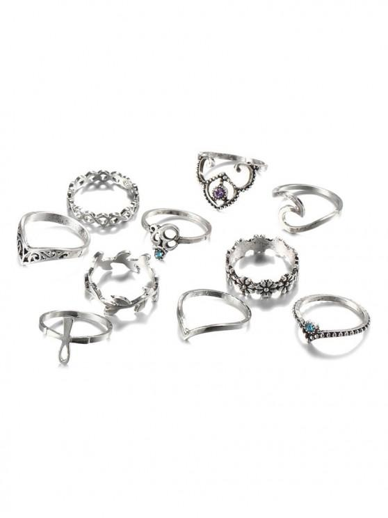 online 10 PCS Retro Rhinestone Leaf Floral Hollow Out Rings - SILVER