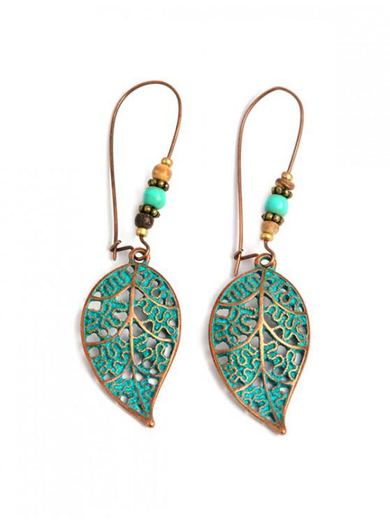 fashion Leaf Shape Retro Hollowed Out Drop Earrings - PEACOCK BLUE