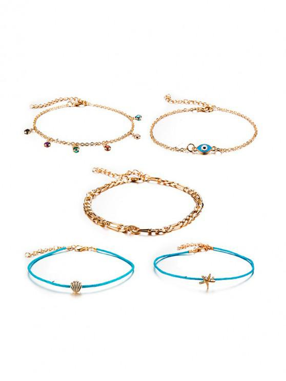 affordable 5Pcs Rhinestone Shell Starfish Anklet Set - SILK BLUE