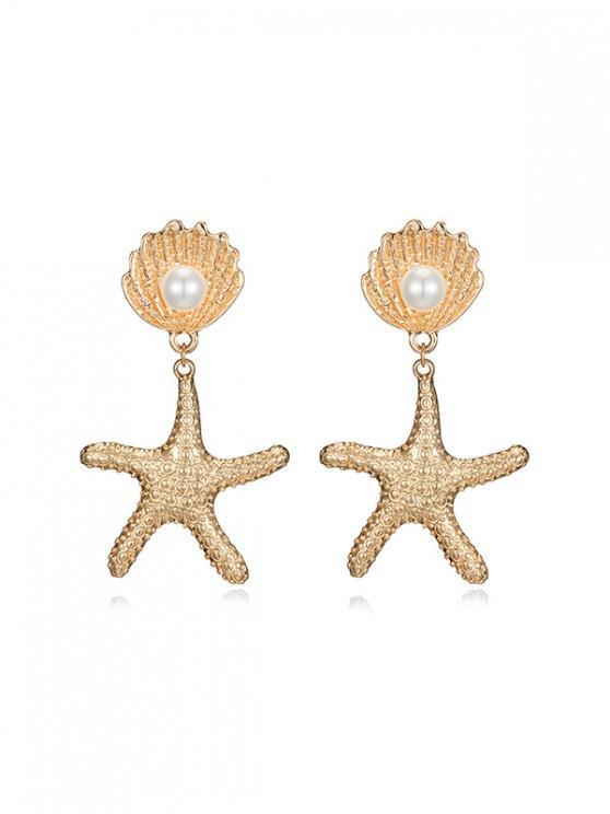 women Alloy Starfish Shell Faux Pearl Drop Earrings - WHITE