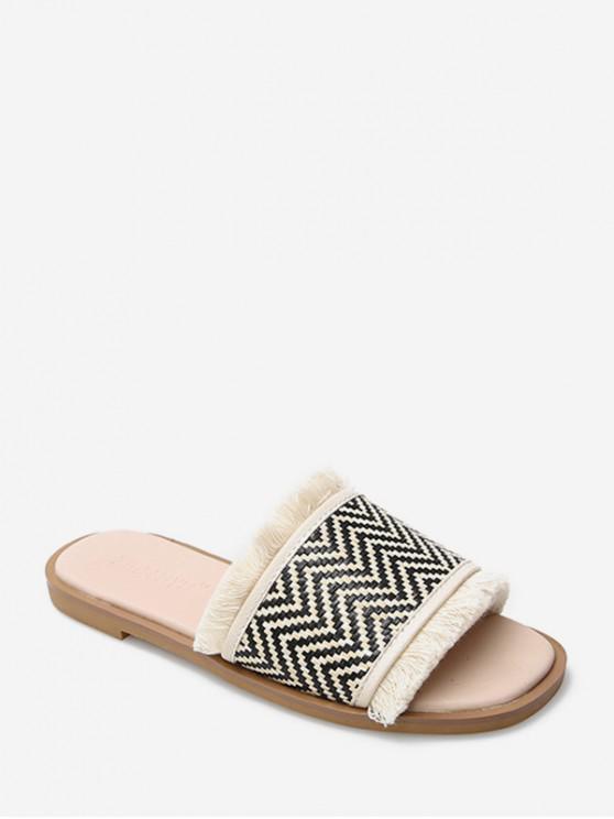 women's Fringe Geometric Pattern Slides Sandals - APRICOT EU 39