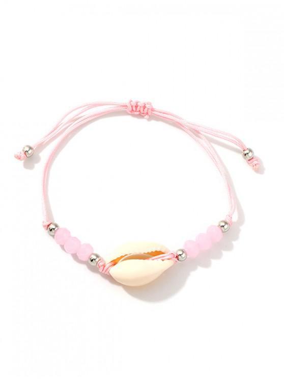 ladies Shell Beaded Rope Adjustable Bracelet - PINK