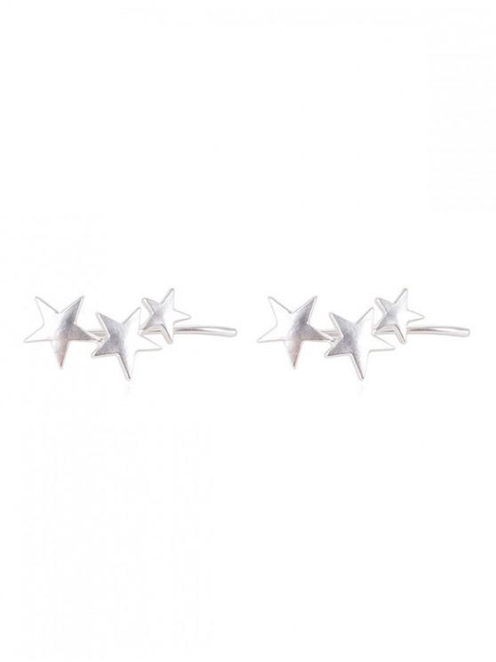 Aretes con clip de estrellas de la personalidad - Plata