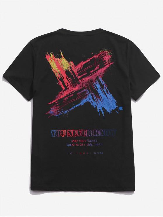 T-shirt décontracté à lettre imprimée de lettres colorées - Noir M