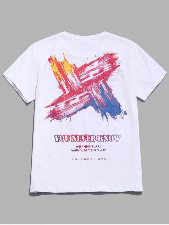 T-shirt décontracté à lettre imprimée de lettres colorées - Blanc L