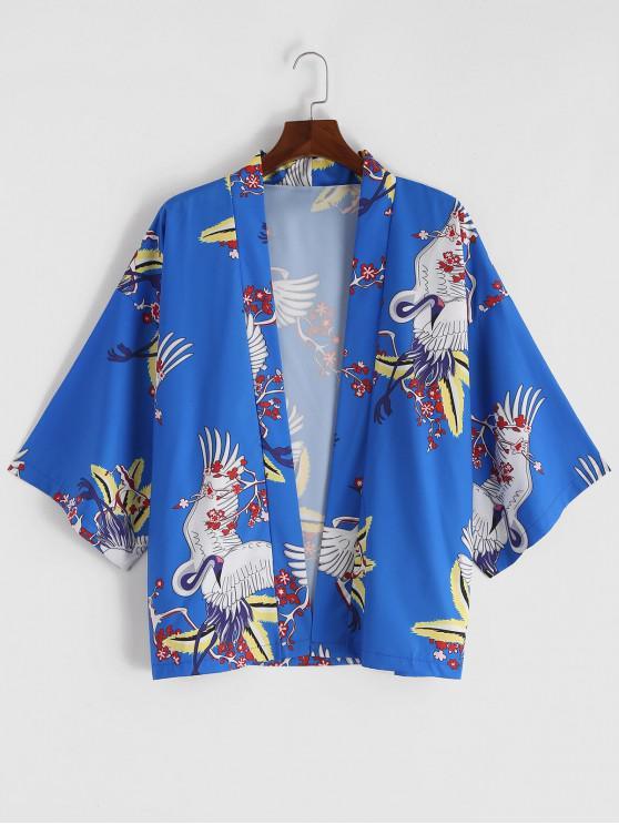 chic China Ditsy Flying Crane Print Kimono Cardigan - BLUEBERRY BLUE M