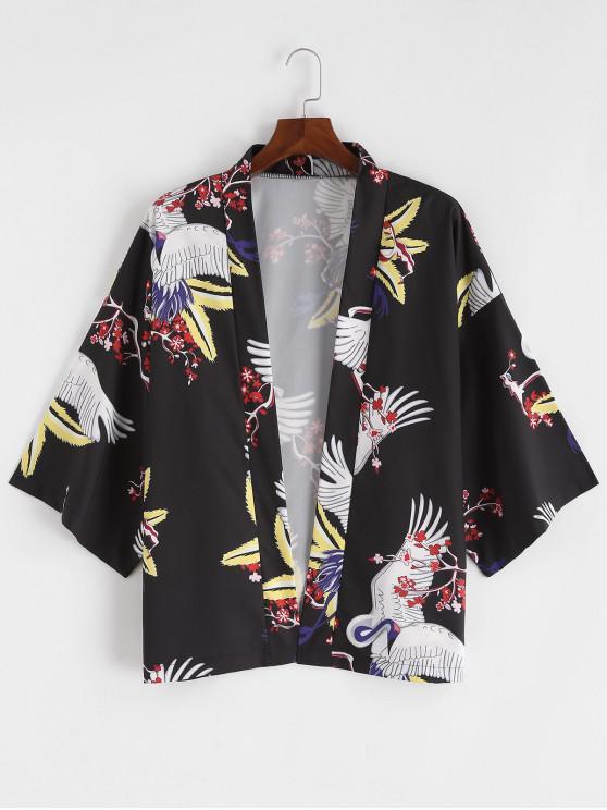 womens China Ditsy Flying Crane Print Kimono Cardigan - BLACK L