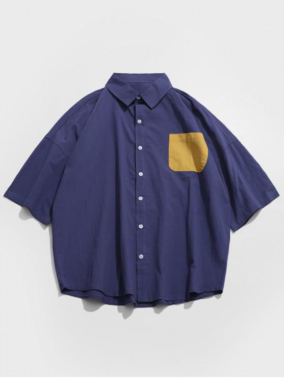 Chemise en Blocs de Couleurs à Goutte Epaule avec Poche Poitrine - Cadetblue L