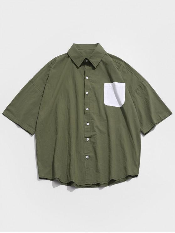 Chemise en Blocs de Couleurs à Goutte Epaule avec Poche Poitrine - Vert Armée  L