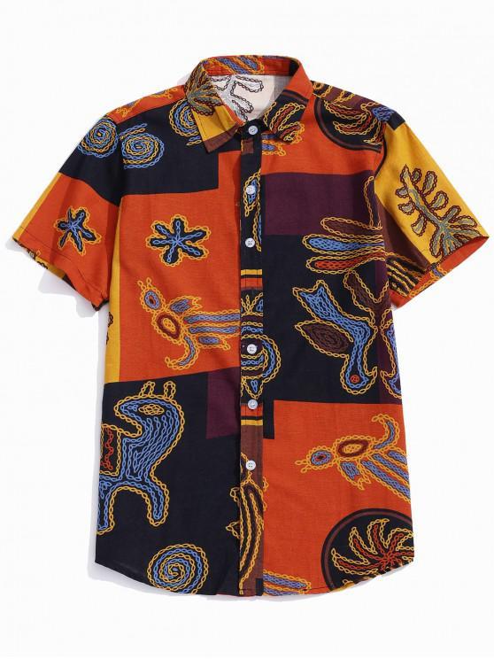 shop Color Block Chain Graphic Print Shirt - HALLOWEEN ORANGE L