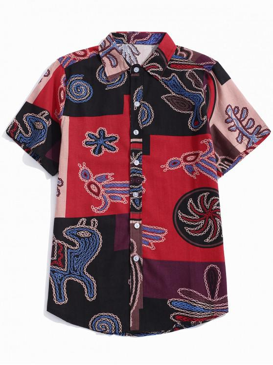 buy Color Block Chain Graphic Print Shirt - VALENTINE RED 4XL