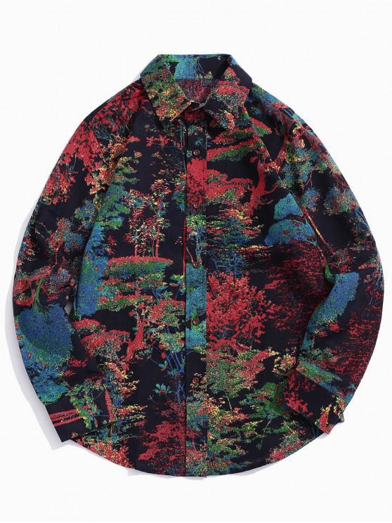 affordable Plant Painting Print Curved Hem Shirt - NIGHT M