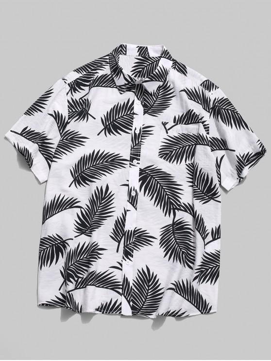 الاستوائية ورقة طباعة قميص هاواي - أبيض L
