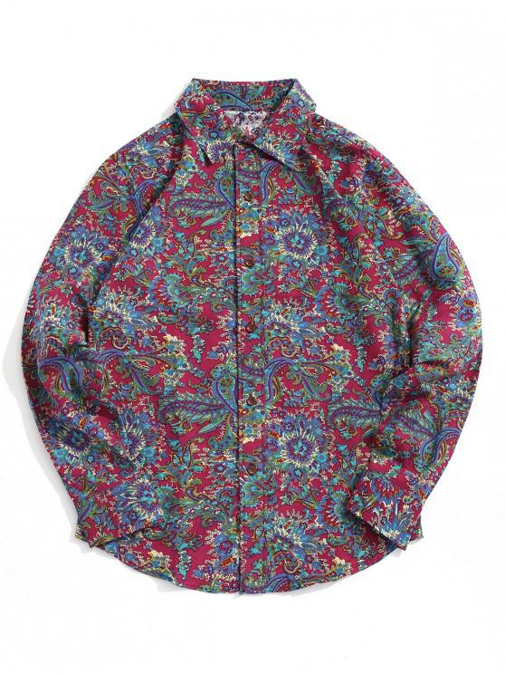 trendy Tribal Flower Paisley Print Cueved Hem Shirt - VALENTINE RED M
