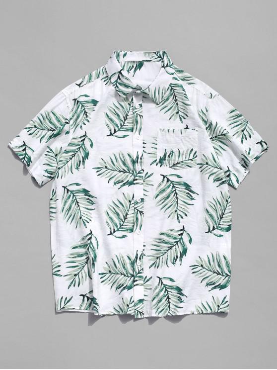 Camisa tropical de Hawaii de la playa de la impresión de la hoja - Multicolor XL