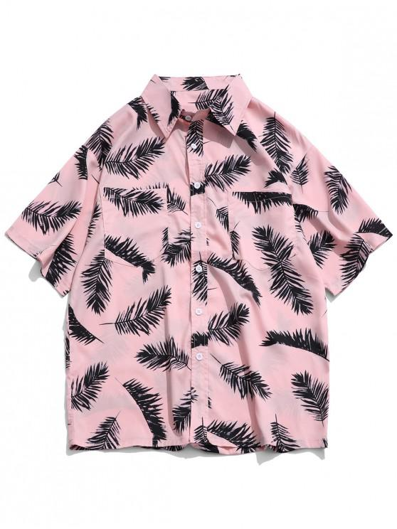 ladies Tropical Leaf Print Chest Pocket Button Shirt - ROSE 4XL