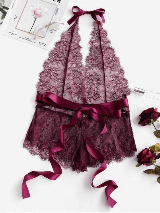 Halter de encaje de flores con cinturón de peluche - Vino Tinto S