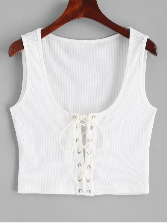 shop ZAFUL Ribbed Cropped Lace Up Tank Top - WHITE M