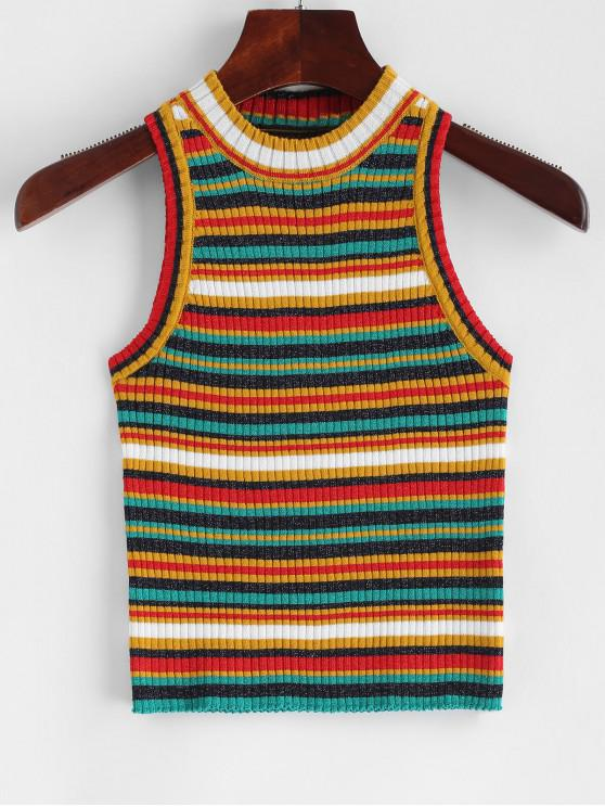 new Striped Sparkle Ribbed Knit Tank Top - MULTI-A ONE SIZE
