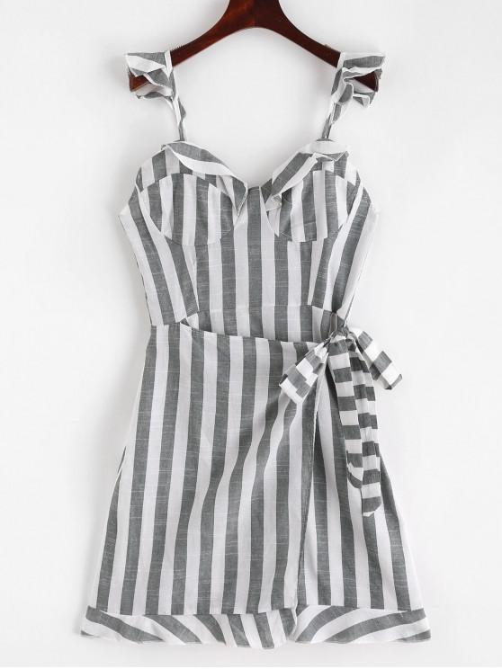 unique Overlap Stripes Ruffles Mini Dress - MULTI S