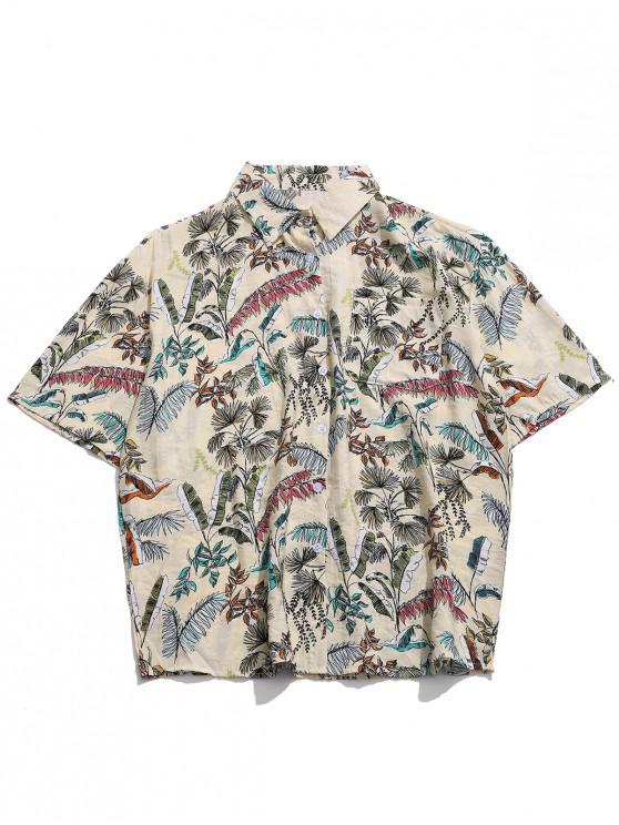 outfit Tropical Plant Print Hawaii Beach Button Shirt - CREAM XL