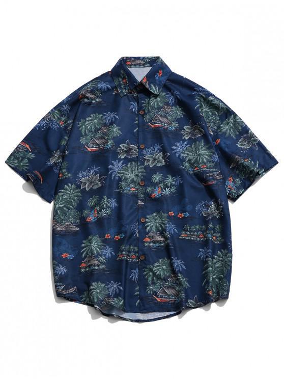 online Beach Palm Scenery Print Drop Shoulder Beach Shirt - LAPIS BLUE XL