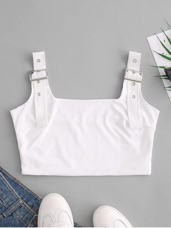 new Buckle Square Neck Crop Tank Top - WHITE M