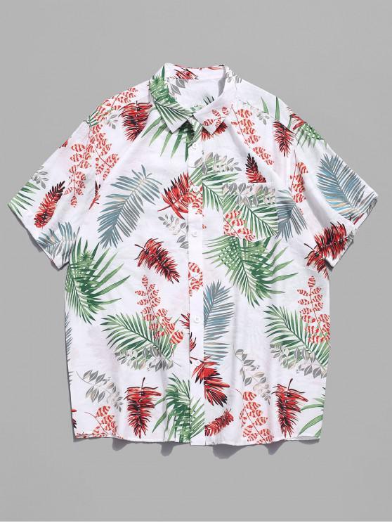 Camisa casual de playa de Hawaii con estampado de plantas tropicales - Multicolor 2XL